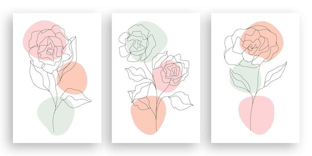 Минималистская линия искусства цветочная иллюстрация с абстрактным дизайном листьев