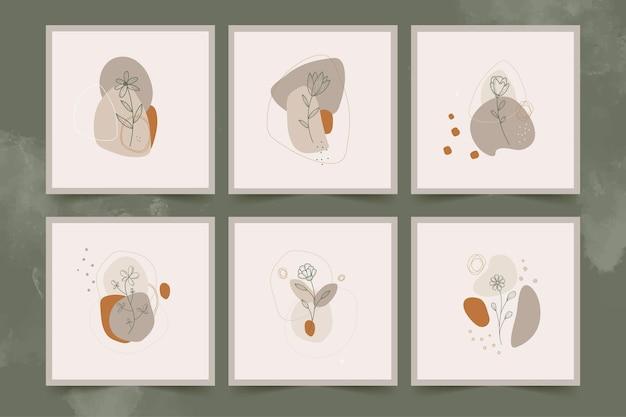 Minimalist line art flowers   posters set