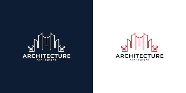 귀하의 비즈니스를 위한 미니멀한 라인 아트 부동산 도시 로고 디자인