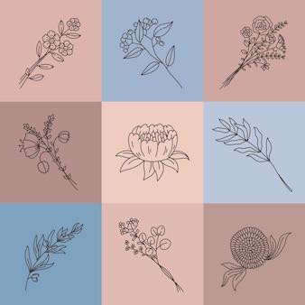 미니멀한 라인 꽃. 추상 초원 부케와 간단한 포스터입니다. 우아한 개요 꽃, 지점, 허브와 연꽃, 식물 벡터 세트. 그림 그리기 꽃, 미니멀리스트 아름다움 식물 잎