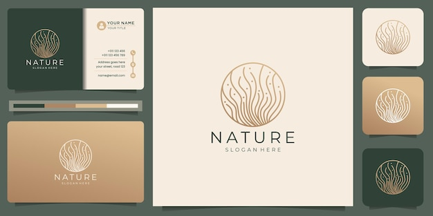 Minimalist line nature logo design with creative line art style in circle shape concept.