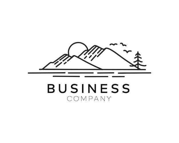 山の丘のロゴデザインテンプレートとミニマリストラインの夕日の湖