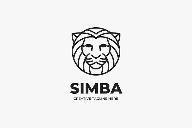 Minimalist lion head business logo