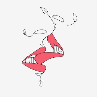 ラインアートスタイル5でキスするミニマリストの唇