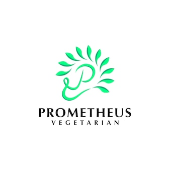 Minimalist logo concept with initial for vegan vegetarian plant and environment company