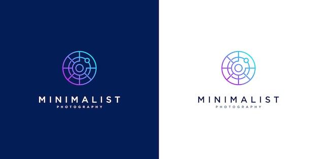 Минималистичный дизайн логотипа фотографии. дизайн стиля линии, объектив, фокус и оптический.