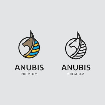 Minimalist logo with anubis god