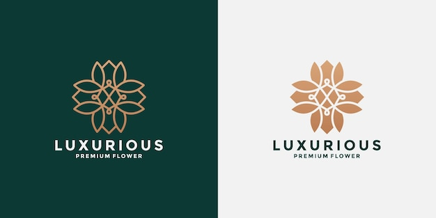 미니멀한 연꽃 플랫 및 라인 로고 디자인 영감
