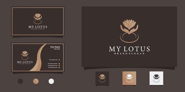 Минималистичный дизайн логотипа в виде цветка лотоса с уникальной современной формой и дизайном визитной карточки premium vecto