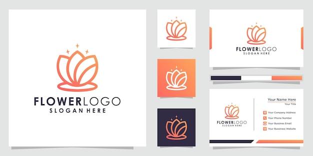 Минималистичный логотип цветок лотоса логотип лотоса и дизайн визитной карточки