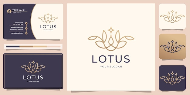 미니멀리즘 연꽃 로고 라인 아트 스타일 꽃 장미 디자인 뷰티 스파 패션 라인 아트 모노그램 모양 황금 로고 디자인 아이콘 및 명함 템플릿 premium 벡터