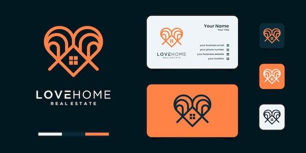 미니멀한 사랑의 집 로고 디자인 템플릿입니다.