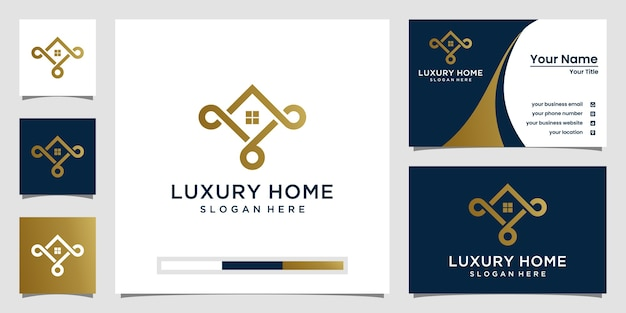 Minimalist luxury home logo inspiration with line art style and business card design