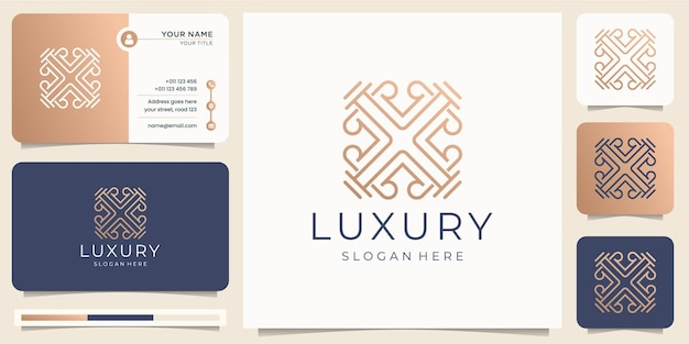 Minimalist luxury line art style. ornament logo abstract design with business card template