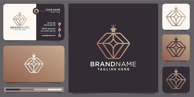 Минималистский роскошный парфюмерный логотип с шаблоном визитной карточки