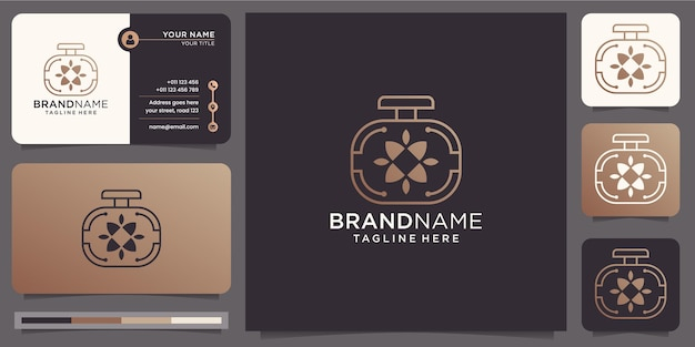 Minimalist luxury perfume logo with business card template