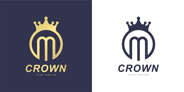 Minimalist m letter logo with  king  or  kingdom  concept