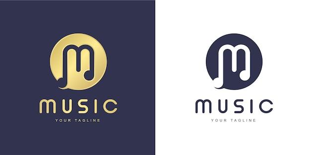 「音楽」と「歌う」のコンセプトを持つミニマリストのm文字のロゴ