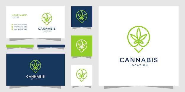 マップマーカーのデザインとラインアートスタイルのミニマリストマリファナの葉のロゴ