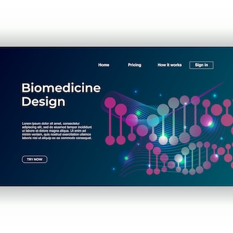 Minimalist medicine design of landing page template with dna