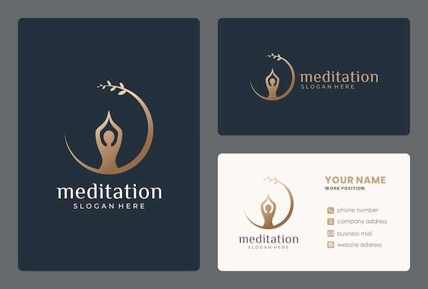 Минималистский дизайн логотипа медитации с визитной карточкой