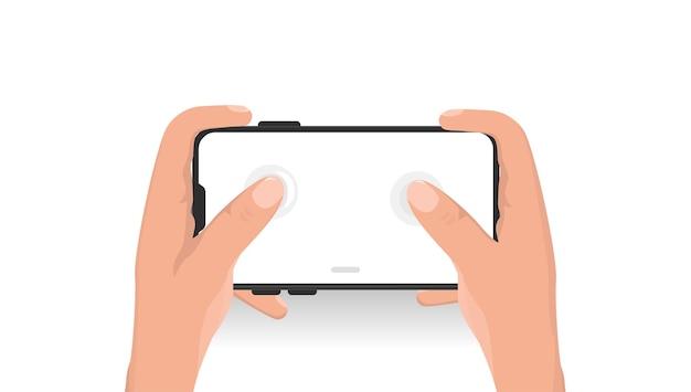 흰색 배경에서 프리젠 테이션을위한 미니멀리스트 모형 스마트 폰