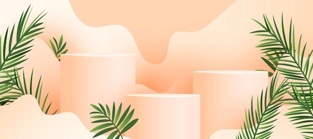 Минималистичный современный абстрактный подиум со свежими пальмовыми листьями