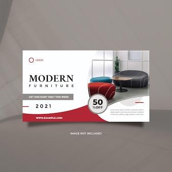Minimalist modern furniture promotion design for social media banner and web internet ads
