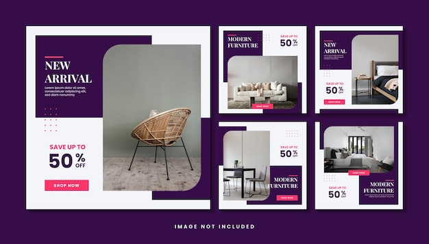 Minimalist modern furniture social media post template