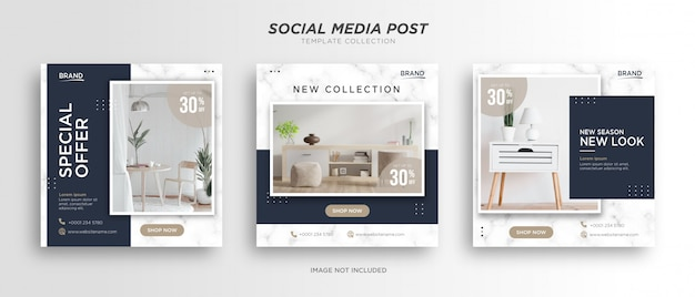 Minimalist modern furniture social media post template