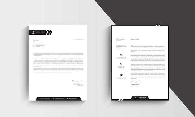Minimalist modern letterhead template design. vector