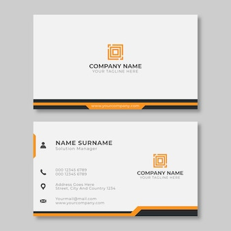Minimalist modern and simple clean business card print template design with white, black and orange