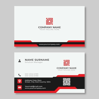 Minimalist modern and simple clean business card template design with black and red colors.