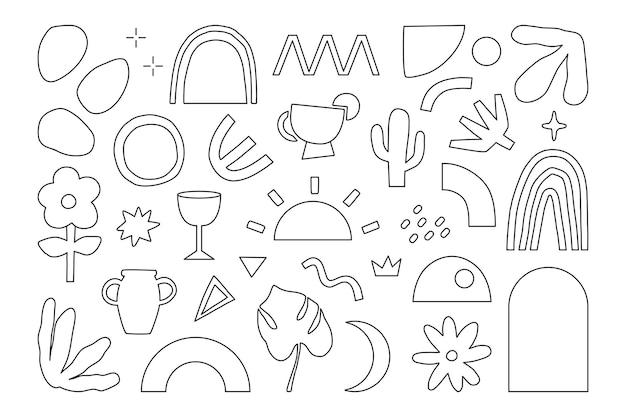 ミニマリストのモダンなトレンディな抽象的な線の形と落書き要素イラスト