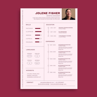 Modello di curriculum minimalista monocolore jolene designer