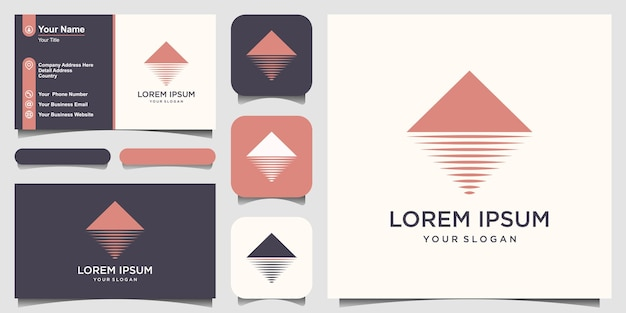 ミニマリストの山と海のロゴデザインのインスピレーション