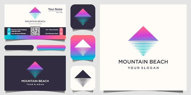 ミニマリストの山と波のロゴデザインテンプレート。