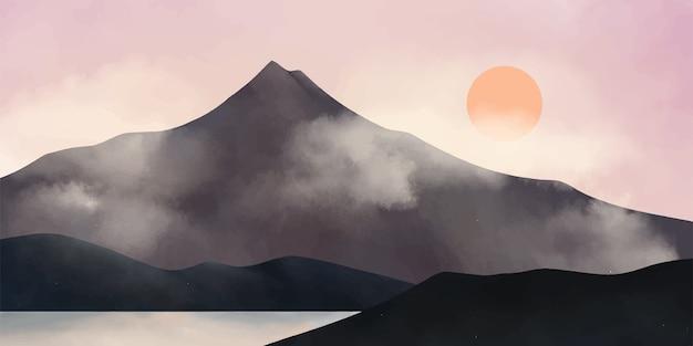 미니멀리스트 산 풍경 손으로 그린
