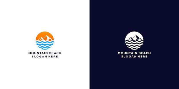 Minimalist mountain and wave logo design