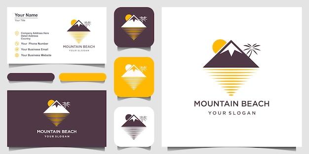 Minimalist mountain and wave logo