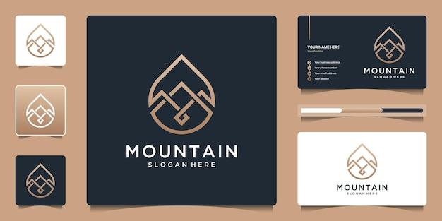 水滴のロゴデザインが施されたミニマルな山。ブランディング用の高級テンプレート名刺。