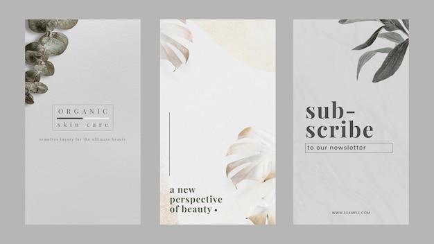 Minimalist natural marketing banner design template set