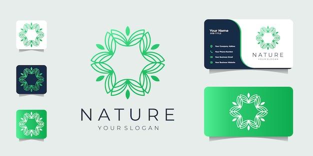 미니멀리스트 자연 디자인 영감 라인 아트 로고 및 명함.