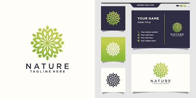 Минималистский логотип природы f. линия арт стиль логотипа и дизайн визитной карточки.