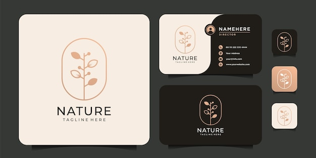 Минималистичный логотип из листьев растений для спа-йоги