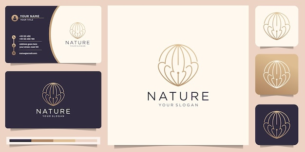 Minimalist nature slim logo with creative linear style circle design and business card design.