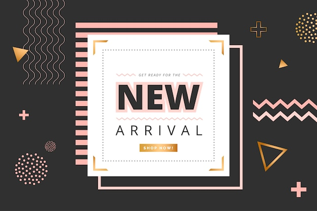 Minimalist new arrival banner with geometric shapes