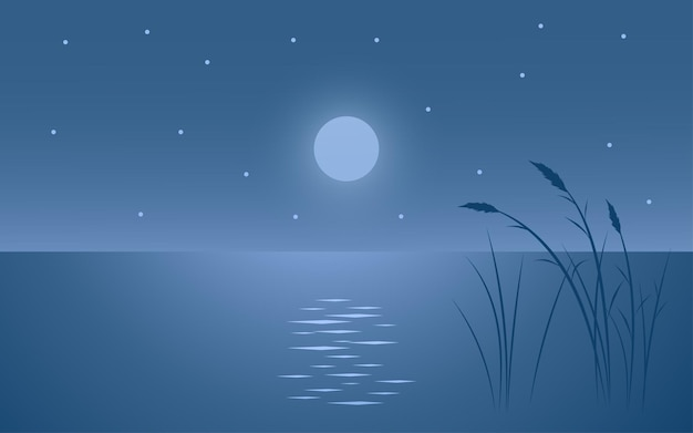 Minimalist night landscape with grass silhouette and water