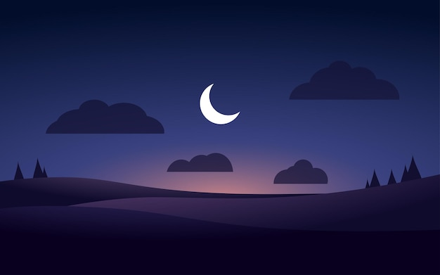 초승달이있는 미니멀 한 밤