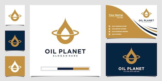 ラインアートスタイルのミニマリストオイルと惑星のロゴデザイン。ロゴと名刺のデザイン。